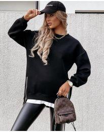 Дамска свободна спортно-елегантна туника с ципове в черно - код 4972