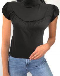 Дамска блуза в сиво с къс ръкав и поло яка - код 0216