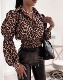 Дамска риза с дълъг ръкав с ефектен леопардов десен - код 0323 - 2
