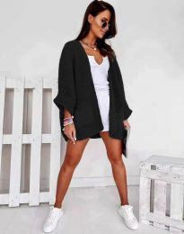 Дамска свободна плетена жилетка в черно- код 0553