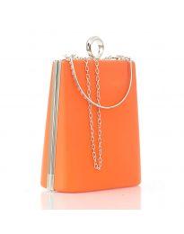 Дамска изчистена чанта в светлооранжево с твърдо тяло - код 20121
