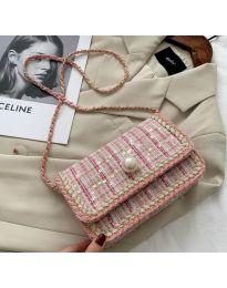 Ефектна чанта в розово с пайети - код B161