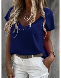 Дамска тениска с остро деколте в тъмно синьо - код 0589