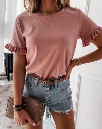 Дамска тениска в цвят пудра с къдрички - код 11763