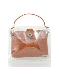 Дамска чанта в  кафяво с прозрачна външна част - код YF - D2025