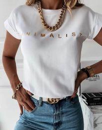 Дамска тениска с надпис в бяло - код 4078