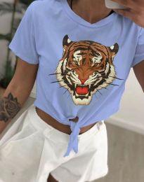 Дамска тениска в светлосиньо с принт - код 6101