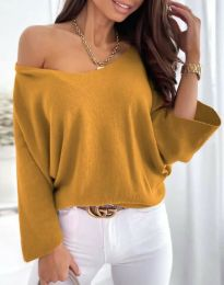 Дамска елегантна свободна блуза с паднало рамо в цвят горчица - код 6289