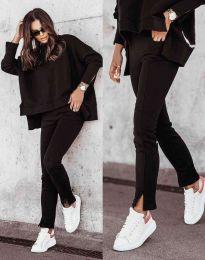 Дамски спортно-елегантен комплект долнище и свободна блуза с дълъг ръкав в черно - код 3171